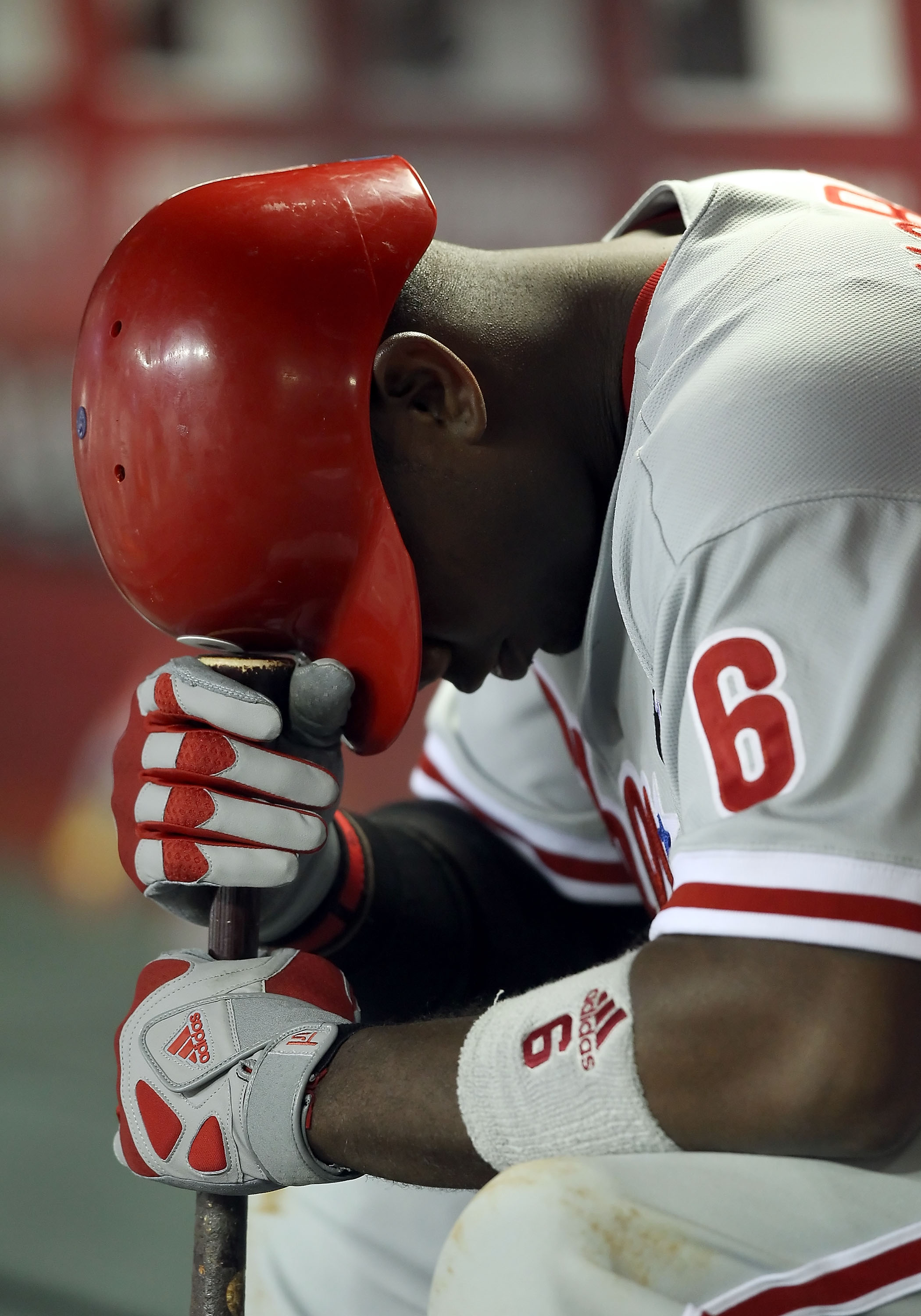 PHOENIX, AZ - APRIL 26:  Ryan Howard #6 of the Philadelphia Phillies sits in the dugout during the Major League Baseball game against the Arizona Diamondbacks at Chase Field on April 26, 2011 in Phoenix, Arizona. The Diamondbacks defeated the Phillies 7-5
