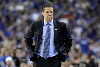 HOUSTON, TX - APRIL 02:  Head coach John Calipari of the Kentucky Wildcats reacts from the sidelines against the Connecticut Huskies during the National Semifinal game of the 2011 NCAA Division I Men's Basketball Championship at Reliant Stadium on April 2