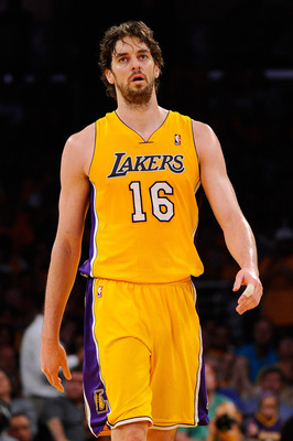 LOS ANGELES, CA - MAY 02:  Pau Gasol #16 of the Los Angeles Lakers reacts in the second half while taking on the Dallas Mavericks in Game One of the Western Conference Semifinals in the 2011 NBA Playoffs at Staples Center on May 2, 2011 in Los Angeles, Ca