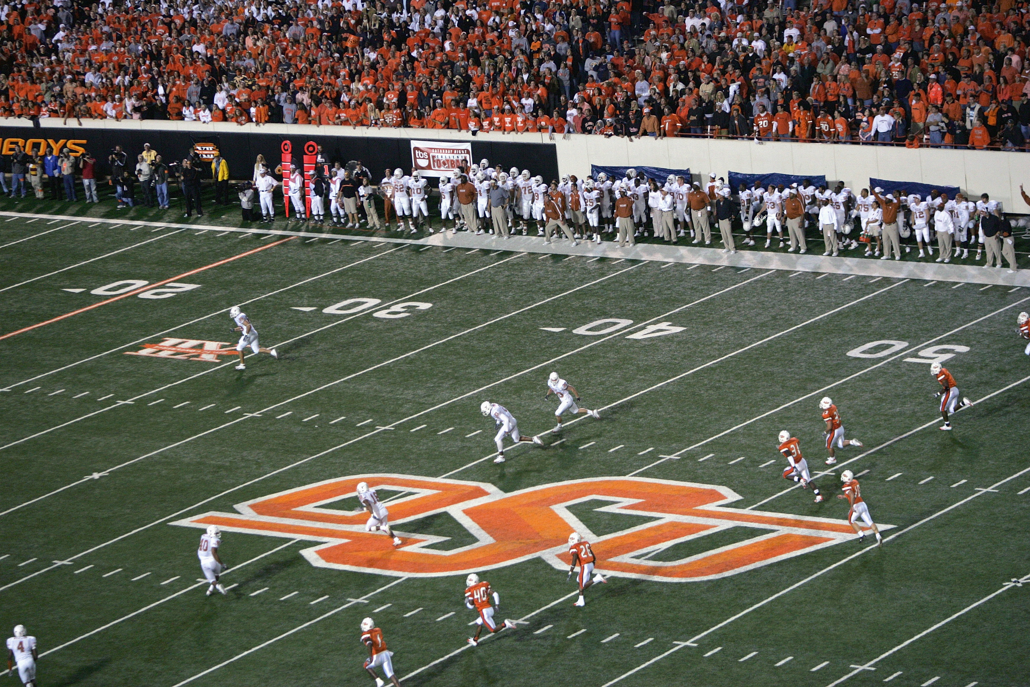 STILLWATER, OK - OCTOBER 29:  The OSU logo is shown during the Texas Longhorns game against the Oklahoma State Cowboys on October 29, 2005 at Boone Pickens Stadium in Stillwater, Oklahoma. The Longhorns defeated the Cowboys 47-28.  (Photo by Ronald Martin