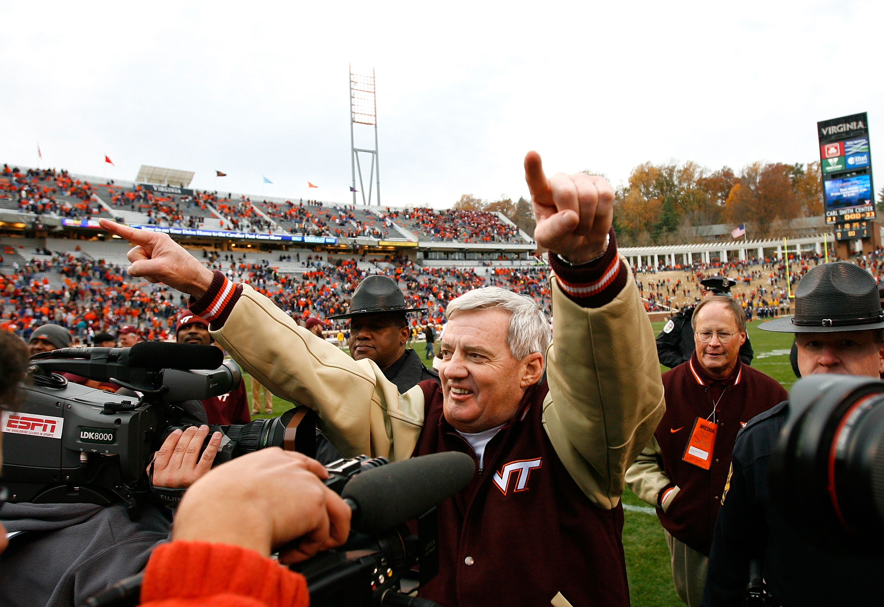 CHARLOTTESVILLE, VA - NOVEMBER 24:  Head coach Frank Beamer of the Virginia Tech Hokies celebrates after defeating the Virginia Cavaliers 33-21 at Scott Stadium on November 24, 2007 in Charlottesville, Virginia.  (Photo by Kevin C. Cox/Getty Images)