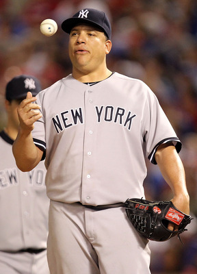 ARLINGTON, TX - MAY 07:  Pitcher Bartolo Colon #40 of the New York Yankees throws the ball in the air before being relieved against the Texas Rangers at Rangers Ballpark in Arlington on May 7, 2011 in Arlington, Texas.  (Photo by Ronald Martinez/Getty Ima