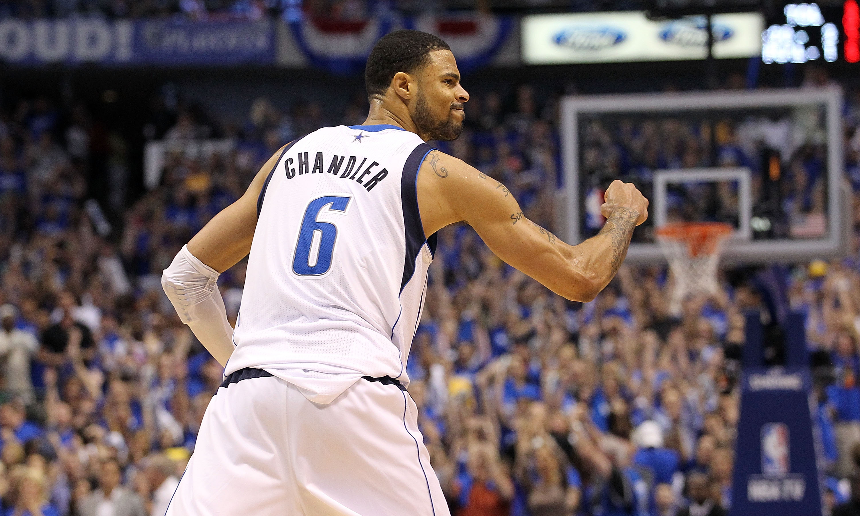 DALLAS, TX - MAY 06:  Center Tyson Chandler #6 of the Dallas Mavericks reacts after a 98-92 win against the Los Angeles Lakers in Game Three of the Western Conference Semifinals during the 2011 NBA Playoffs on May 6, 2011 at American Airlines Center in Da