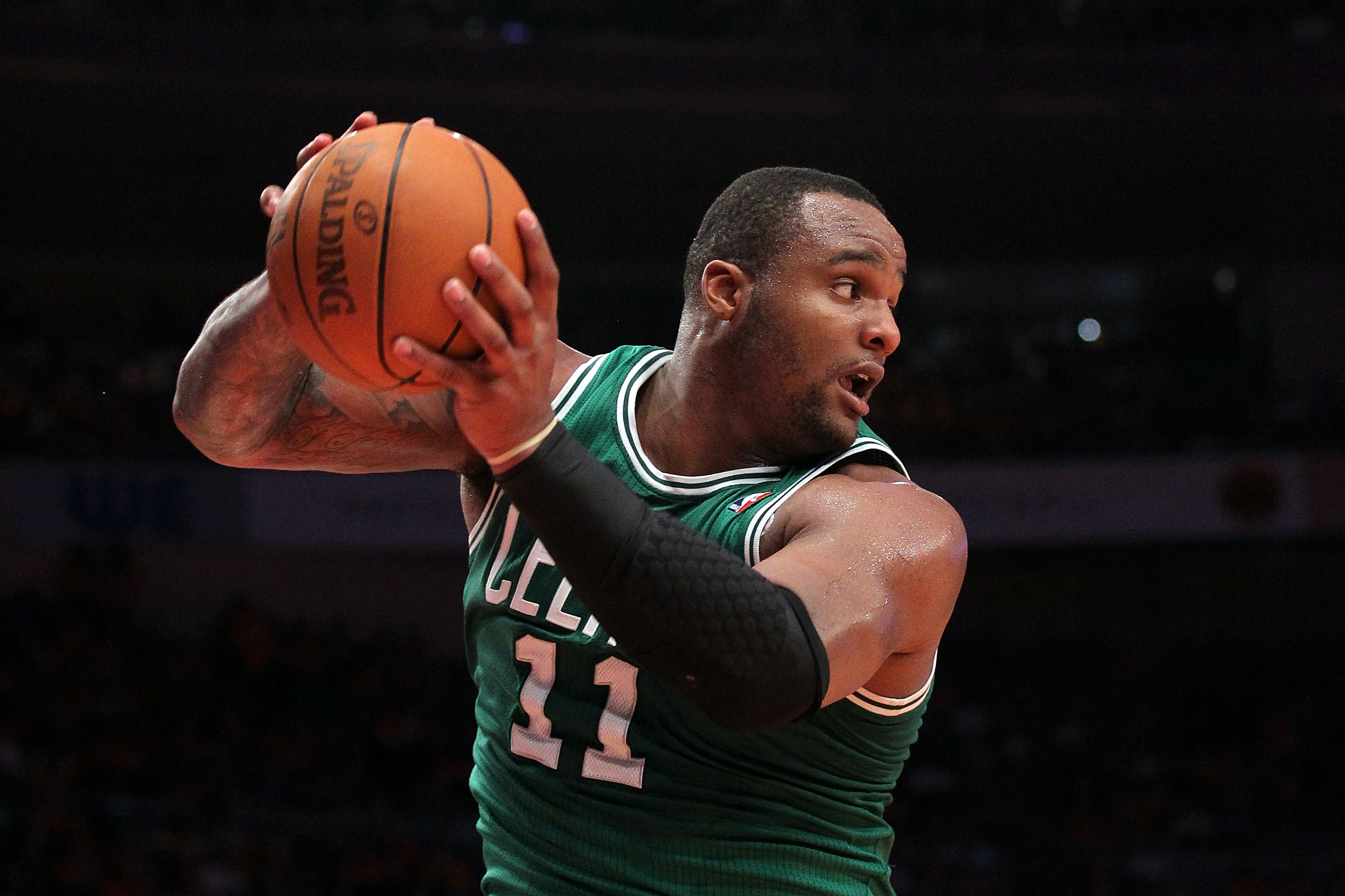 NEW YORK, NY - APRIL 24:  Glen Davis #11 of the Boston Celtics controls a rebound against the New York Knicks in Game Four of the Eastern Conference Quarterfinals during the 2011 NBA Playoffs on April 24, 2011 at Madison Square Garden in New York City. Th
