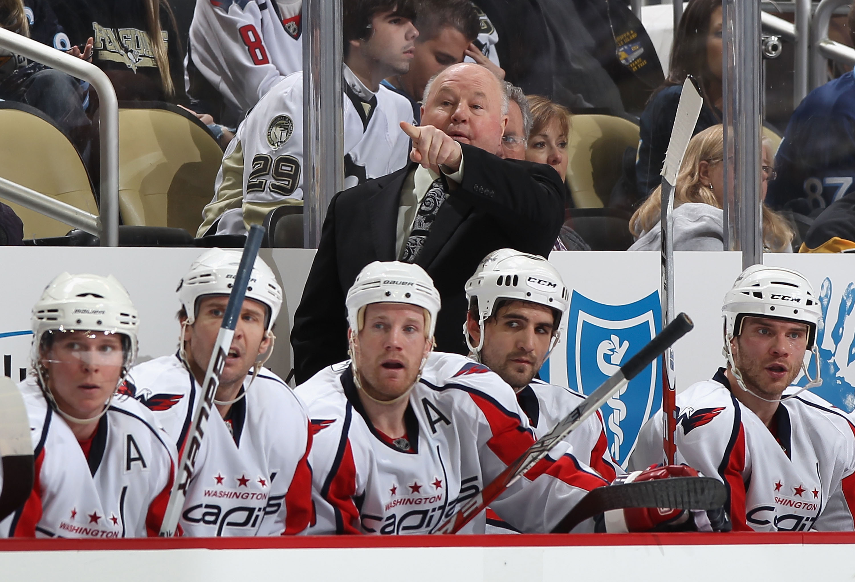 PITTSBURGH, PA - FEBRUARY 21:  Head coach Bruce Boudreau of the Washington Capitals directs his team during the NHL game against the Pittsburgh Penguins at Consol Energy Center on February 21, 2011 in Pittsburgh, Pennsylvania. The Capitals defeated the Pe