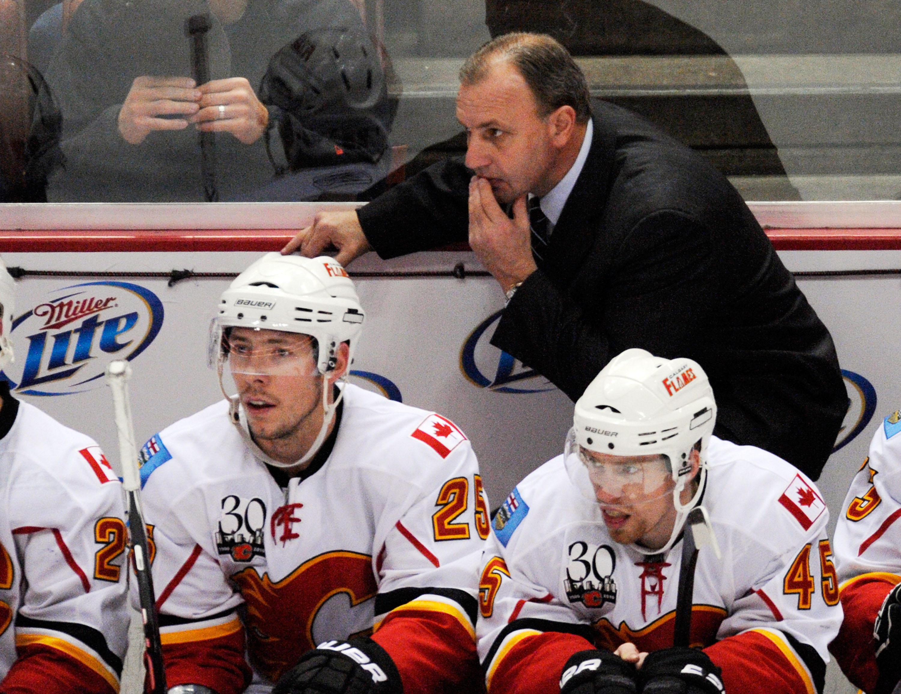 ANAHEIM, CA - NOVEMBER 23:  Brent Sutter head coach of the Calgary Flames during the NHL game against  Anaheim Ducks  at the Honda Center on November 23, 2009 in Anaheim, California.  (Photo by Kevork Djansezian/Getty Images)