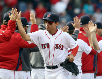 BOSTON, MA - MAY 08:  Jacoby Ellsbury #2 of the Boston Red Sox celebrates the win with teammates after the game against the Minnesota Twins on May 8, 2011 at Fenway Park in Boston, Massachusetts. The Boston Red Sox defeated the Minnesota Twins 9-5.  (Phot