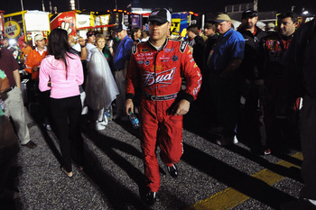 DARLINGTON, SC - MAY 07:  Kevin Harvick, driver of the #29 Budweiser Chevrolet, walks away after having an argument with Kyle Busch, driver of the #18 Wrigley Doublemint Toyota, after the NASCAR Sprint Cup Series SHOWTIME Southern 500 at Darlington Racewa