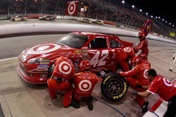DARLINGTON, SC - MAY 07:  Juan Pablo Montoya pits the #42 Target Chevrolet during the NASCAR Sprint Cup Series SHOWTIME Southern 500 at Darlington Raceway on May 7, 2011 in Darlington, South Carolina.  (Photo by Chris Graythen/Getty Images)