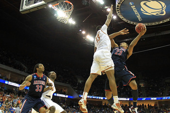 TULSA, OK - MARCH 20:  Derrick Williams #23 of the Arizona Wildcats goes up for a shot against Tristan Thompson #13 of the Texas Longhorns during the third round of the 2011 NCAA men's basketball tournament at BOK Center on March 20, 2011 in Tulsa, Oklaho