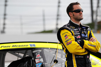DARLINGTON, SC - MAY 06:  Paul Menard, driver of the #27 Turtle Wax/Menards Chevrolet, stands on the grid during qualifying for the NASCAR Sprint Cup Series SHOWTIME Southern 500 at Darlington Raceway on May 6, 2011 in Darlington, South Carolina.  (Photo