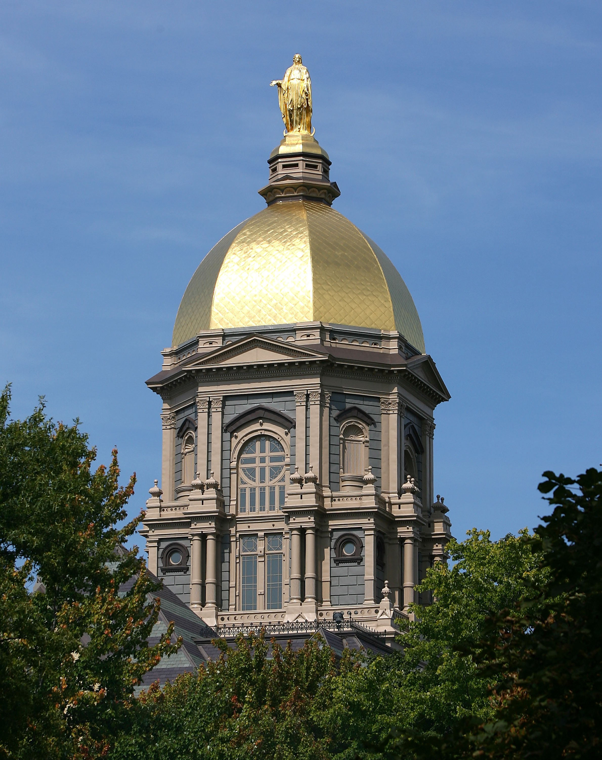 SOUTH BEND, IN - SEPTEMBER 19: A general view of the 'Golden Dome' on the campus of Notre Dame University before a game between the Notre Dame Fighting Irish and the Michigan State Spartans on September 19, 2009 at Notre Dame Stadium in South Bend, Indian