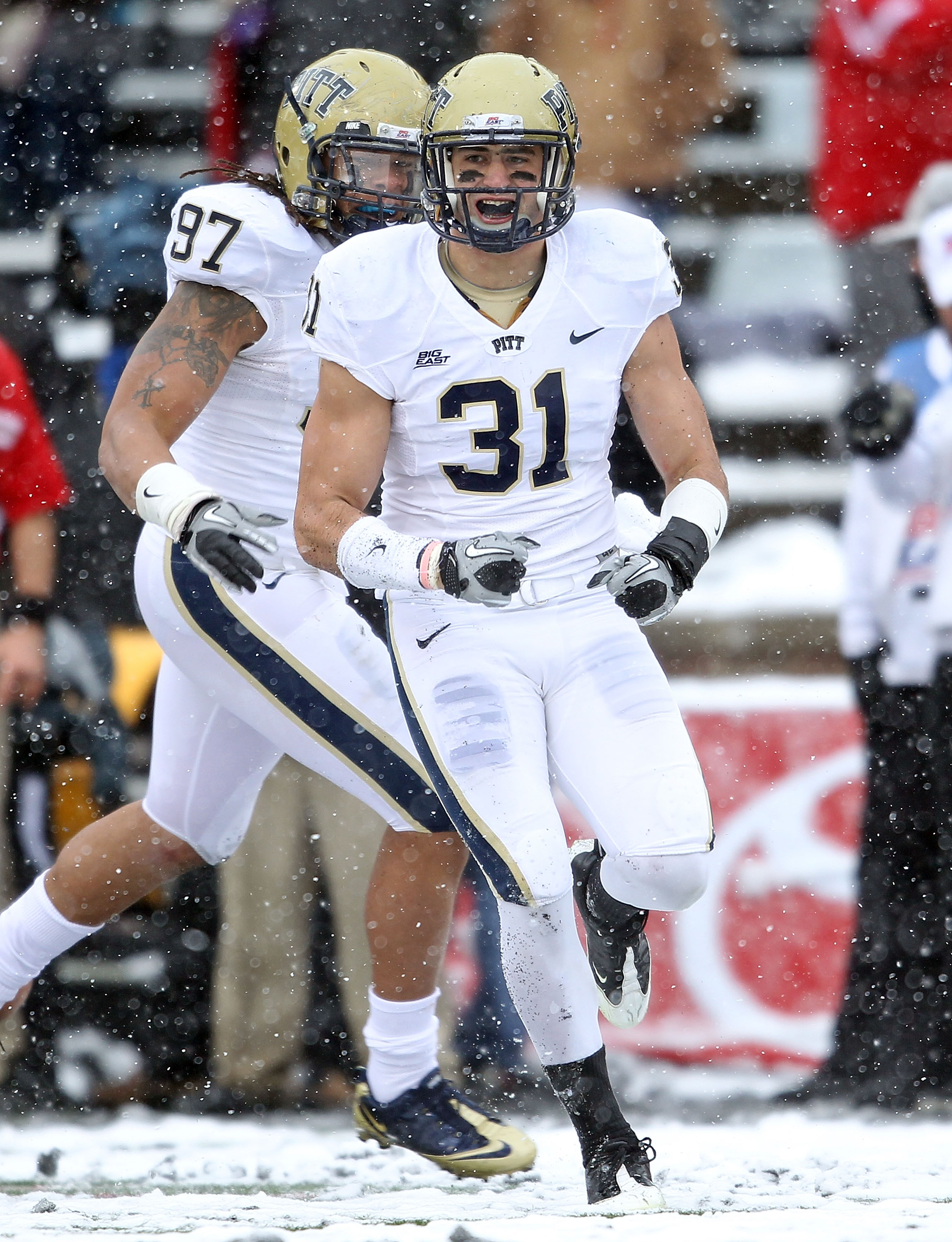 CINCINNATI, OH - DECEMBER 04:  Dom Decicco #31 of the Pittsburgh Panthers celebrates after intercepting a pass during the Big East Conference game against the Cincinnati Bearcats at Nippert Stadium on December 4, 2010 in Cincinnati, Ohio.  Pittsburgh won