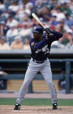 10 Jun 2001:  Devon White #22 of the Milwaukee Brewers at bat during the game against the Detroit Tigers at the Comerica Park in Detroit, Michigan.  The Brewers defeated the Tigers 8-3.Mandatory Credit: Tom Pigeon  /Allsport