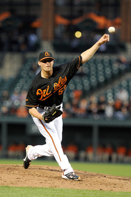 BALTIMORE, MD - MAY 06:  Zach Britton #53 of the Baltimore Orioles pitches against the Tampa Bay Rays at Oriole Park at Camden Yards on May 6, 2011 in Baltimore, Maryland.  (Photo by Greg Fiume/Getty Images)