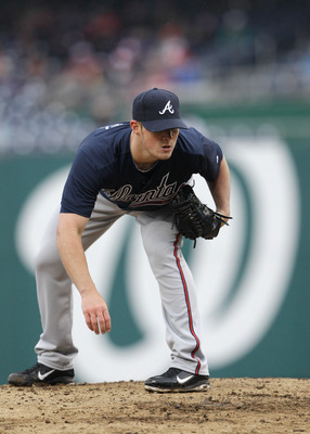 WASHINGTON, DC - MARCH 31:  Reliever Craig Kimbrel #46 of the Atlanta Braves against the Washington Nationals at Nationals Park on March 31, 2011 in Washington, DC.  (Photo by Rob Carr/Getty Images)