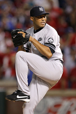 ARLINGTON, TX - OCTOBER 22:  Mariano Rivera #42 of the New York Yankees throws a pitch against the Texas Rangers in Game Six of the ALCS during the 2010 MLB Playoffs at Rangers Ballpark in Arlington on October 22, 2010 in Arlington, Texas. The Rangers won