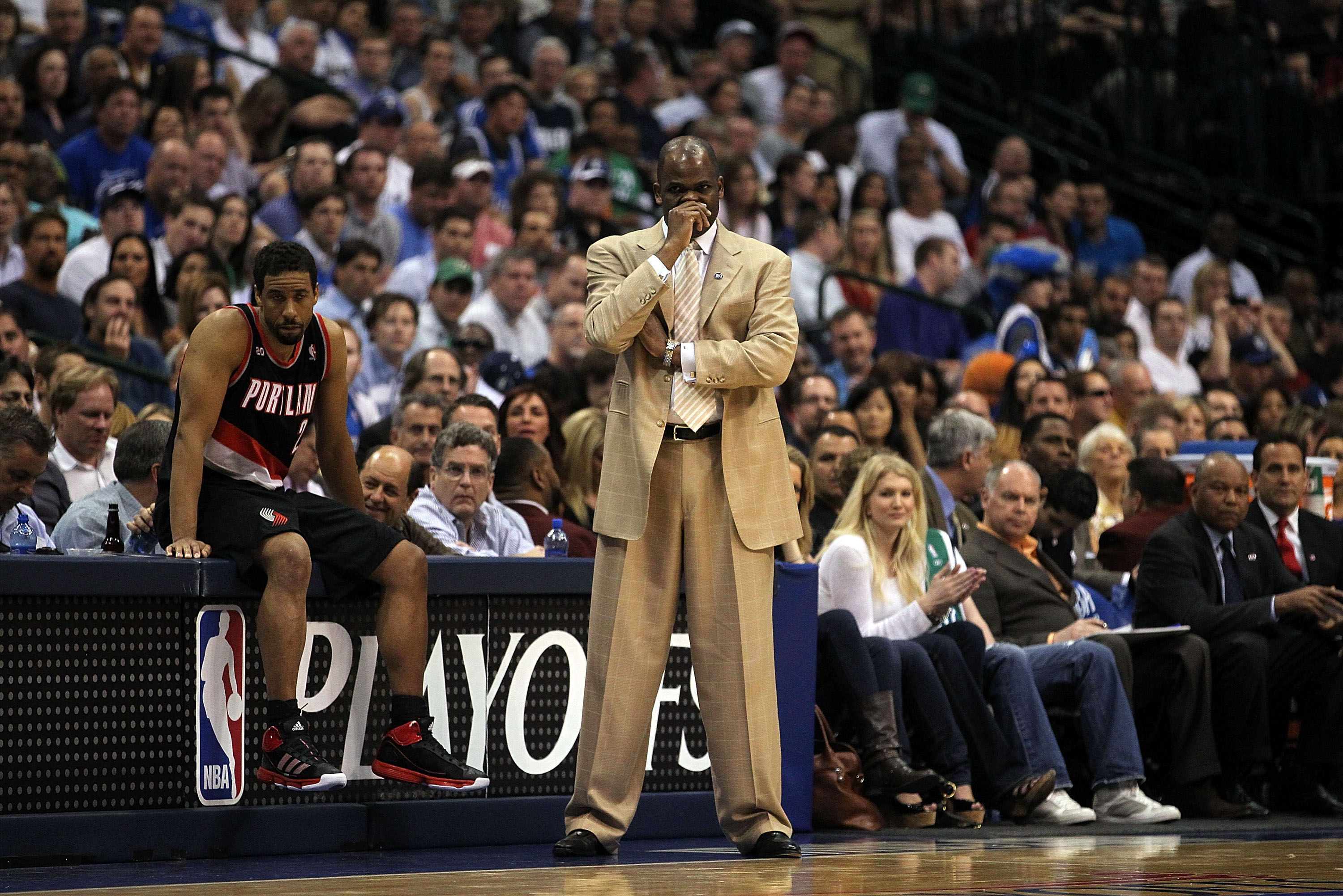 DALLAS, TX - APRIL 25:  Head coach Nate McMillan and Andre Miller #24 of the Portland Trail Blazers during a loss against the Dallas Mavericks in Game Five of the Western Conference Quarterfinals during the 2011 NBA Playoffs on April 25, 2011 at American