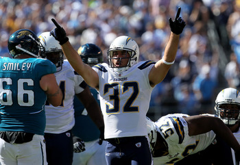 SAN DIEGO - SEPTEMBER 19:  Safety Eric Weddle #32 of the San Diego Chargers celebrates a sack against the Jacksonville Jaguars at Qualcomm Stadium on September 19, 2010 in San Diego, California. The Chargers won 38-13.  (Photo by Stephen Dunn/Getty Images