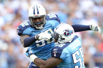 NASHVILLE, TN - OCTOBER 24:  Will Witherspoon #92 and Stephen Tulloch #55 of the Tennessee Titans celebrates in the fourth quarter during the NFL game against the Philadelphia Eagles at LP Field on October 24, 2010 in Nashville, Tennessee. The Titans won