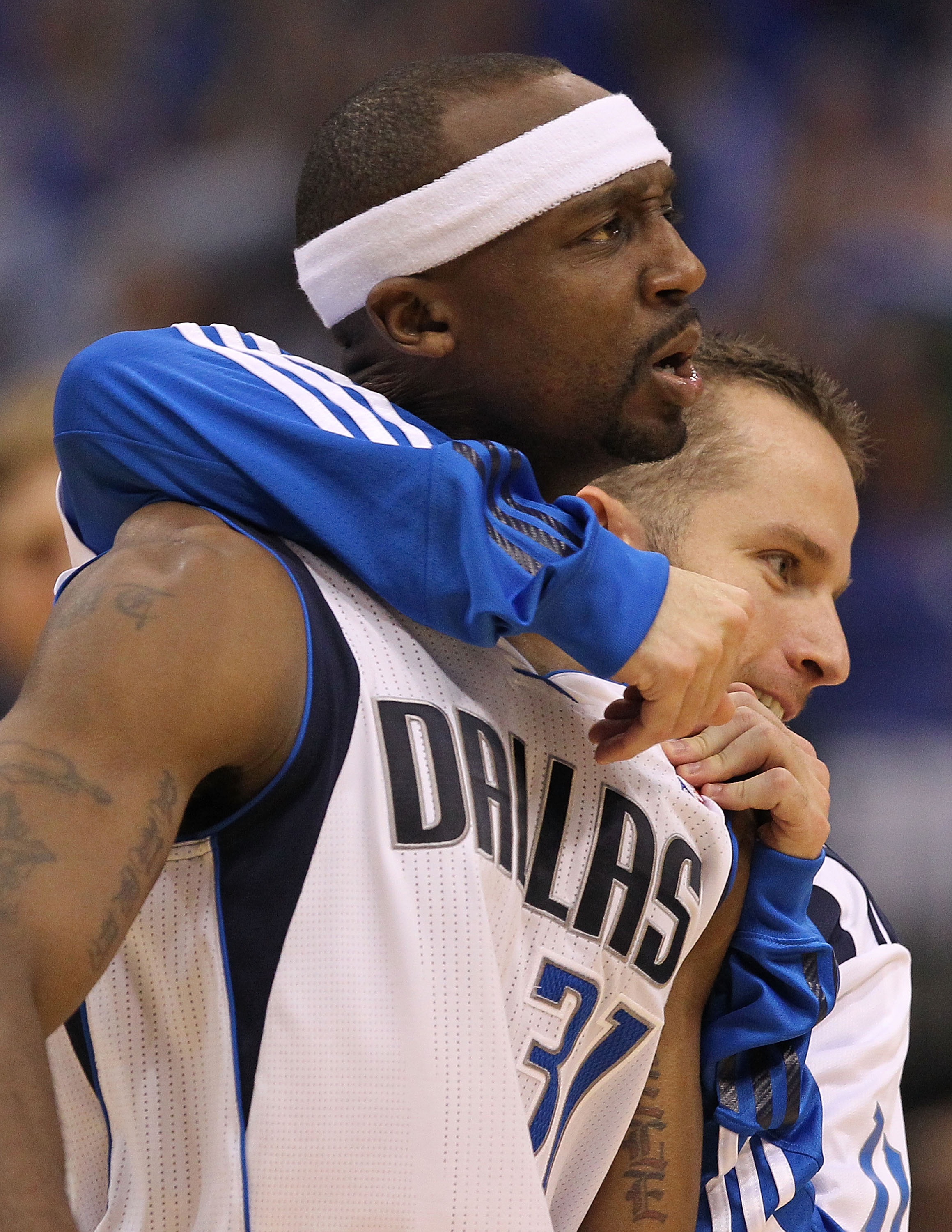 DALLAS, TX - MAY 08:  Guard Jason Terry #31 of the Dallas Mavericks reacts after a three-point shot with Jose Juan Barea against the Los Angeles Lakers in Game Four of the Western Conference Semifinals during the 2011 NBA Playoffs on May 8, 2011 at Americ