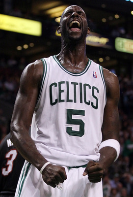 BOSTON, MA - MAY 09:  Kevin Garnett #5 of the Boston Celtics reacts after a foul is called on the Miami Heat in Game Four of the Eastern Conference Semifinals in the 2011 NBA Playoffs on May 9, 2011 at the TD Garden in Boston, Massachusetts.  NOTE TO USER