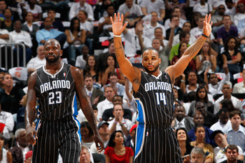 ATLANTA, GA - APRIL 28:  Jason Richardson #23 and Jameer Nelson #14 of the Orlando Magic against the Atlanta Hawks during Game Six of the Eastern Conference Quarterfinals in the 2011 NBA Playoffs at Philips Arena on April 28, 2011 in Atlanta, Georgia.  NO