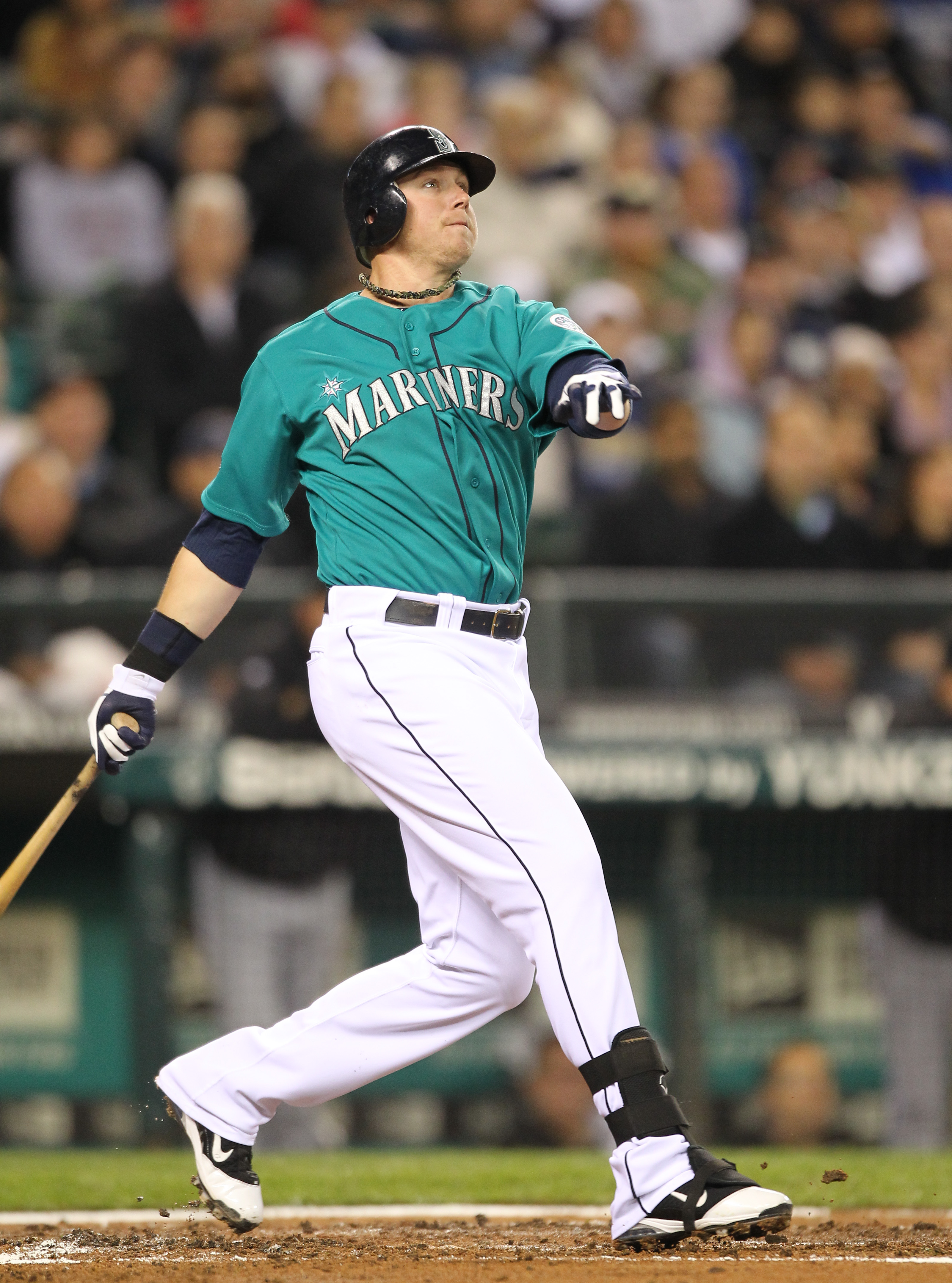 SEATTLE - MAY 06:  Justin Smoak #17 of the Seattle Mariners bats against the Chicago White Sox at Safeco Field on May 6, 2011 in Seattle, Washington. The Mariners won 3-2. (Photo by Otto Greule Jr/Getty Images)