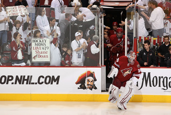 GLENDALE, AZ - APRIL 20:  Goaltender Ilya Bryzgalov #30 of the Phoenix Coyotes skates out onto the ice for warm ups to Game Four of the Western Conference Quarterfinals against the Detroit Red Wings during the 2011 NHL Stanley Cup Playoffs at Jobing.com A