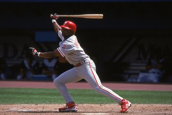 23 Apr 2000:  Desi Relaford #8 of the Philadelphia Phillies watches the ball after hitting it during the game against the Florida Marlins at the Pro Player Stadium in Miami, Florida. The Marlins defeated the Phillies 5-2. Mandatory Credit: Eliot J. Schech