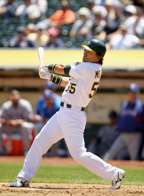 OAKLAND, CA - MAY 02:  Hideki Matsui #55 of the Oakland Athletics in action against the Texas Rangers at Oakland-Alameda County Coliseum on May 2, 2011 in Oakland, California.  (Photo by Ezra Shaw/Getty Images)