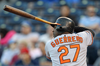 KANSAS CITY, MO - MAY 03:  Vladimir Guerrero #27 of the Baltimore Orioles bats during the game against the Kansas City Royals on May 3, 2011 at Kauffman Stadium in Kansas City, Missouri.  (Photo by Jamie Squire/Getty Images)