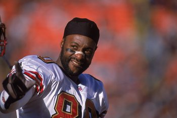 23 Dec 2000:  A close up of Jerry Rice #80 of the San Francisco 49ers as he looks on while playing his last game as a 49er during the game against the Denver Broncos at the Mile High Stadium in Denver, Colorado. The Broncos defeated the 49ers 38-9. Mandat