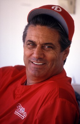 A head shot of Philadelphia Phillies manager Jim Fregosi in the dugout. Mandatory Credit: Jonathan Daniel/ALLSPORT
