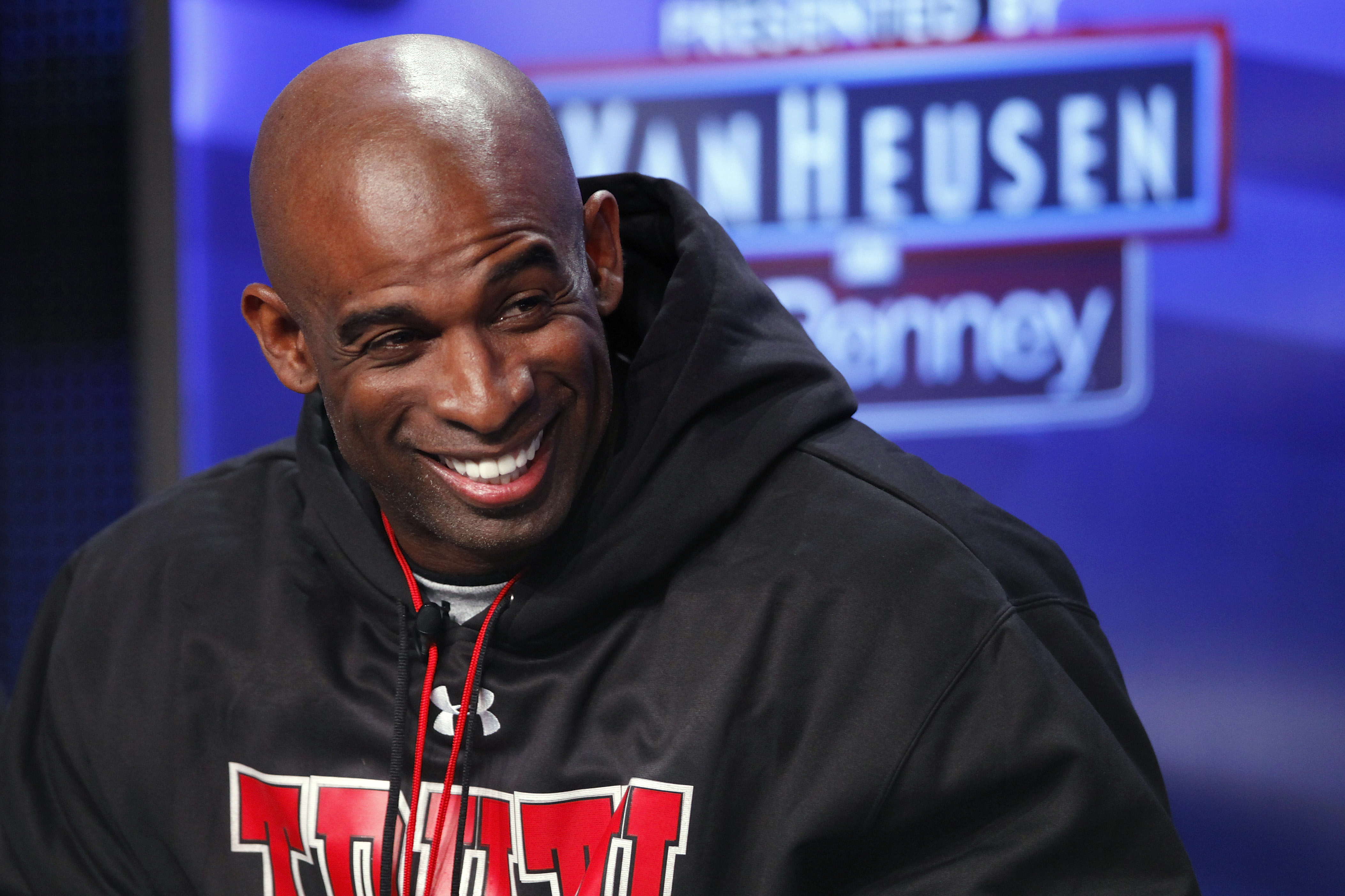DALLAS, TX - FEBRUARY 5: Deion Sanders looks on after being inducted into the 2011 Pro Football Hall of Fame class during an announcement at the Super Bowl XLV media center on February 5, 2011 in Dallas, Texas. (Photo by Joe Robbins/Getty Images)