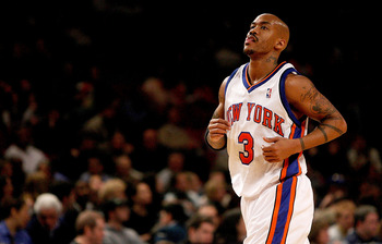NEW YORK - JANUARY 11:  Stephon Marbury #3 of the New York Knicks leaves the court against the Toronto Raptors on January 11, 2008 at Madison Square Garden in New York City. NOTE TO USER: User expressly acknowledges and agrees that, by downloading and/or