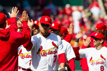 ST. LOUIS, MO - APRIL 21: Matt Holliday #7 of the St. Louis Cardinals celebrates a victory over the Washington Nationals with teammates at Busch Stadium on April 21, 2011 in St. Louis, Missouri.  (Photo by Dilip Vishwanat/Getty Images)