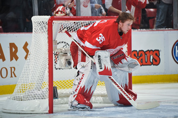 DETROIT - MAY 4: Goaltender Jimmy Howard #35 of the Detroit Red Wings waits for the start of Game Three of the Western Conference Semifinals against the San Jose Sharks during the 2011 NHL Stanley Cup Playoffs on May 4, 2011 at Joe Louis Arena in Detroit,