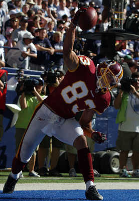 IRVING, TX - SEPTEMBER 28:  Wide receiver James Thrash #83 of the Washington Redskins celebrates his pass reception touchdown against the Dallas Cowboys in the second quarter at Texas Stadium on September 28, 2008 in Irving, Texas.  (Photo by Ronald Marti