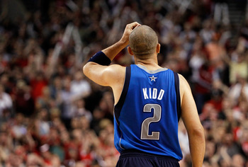 PORTLAND, OR - APRIL 23:  Jason Kidd #2 of the Dallas Mavericks walks off the floor against the Portland Trail Blazers in Game Four of the Western Conference Quarterfinals in the 2011 NBA Playoffs on April 23, 2011 at the Rose Garden in Portland, Oregon.