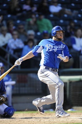 SURPISE, AZ - FEBRUARY 27: Eric Hosmer #40 of the Kansas City Royals bats during a spring training game against the Texas Rangers at Surprise Stadium on February 27, 2011 in Surprise, Arizona. (Photo by Rob Tringali/Getty Images)