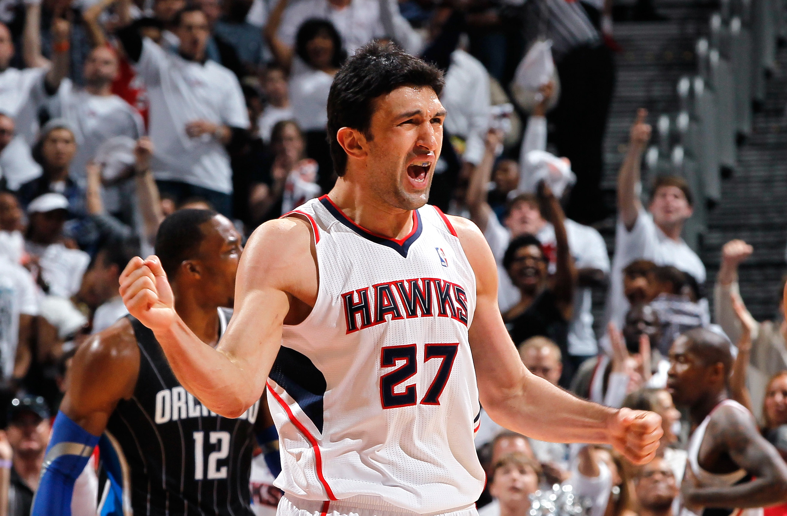ATLANTA, GA - APRIL 28:  Zaza Pachulia #27 of the Atlanta Hawks reacts after a basket against the Orlando Magic due to a turnover he forced during Game Six of the Eastern Conference Quarterfinals in the 2011 NBA Playoffs at Philips Arena on April 28, 2011