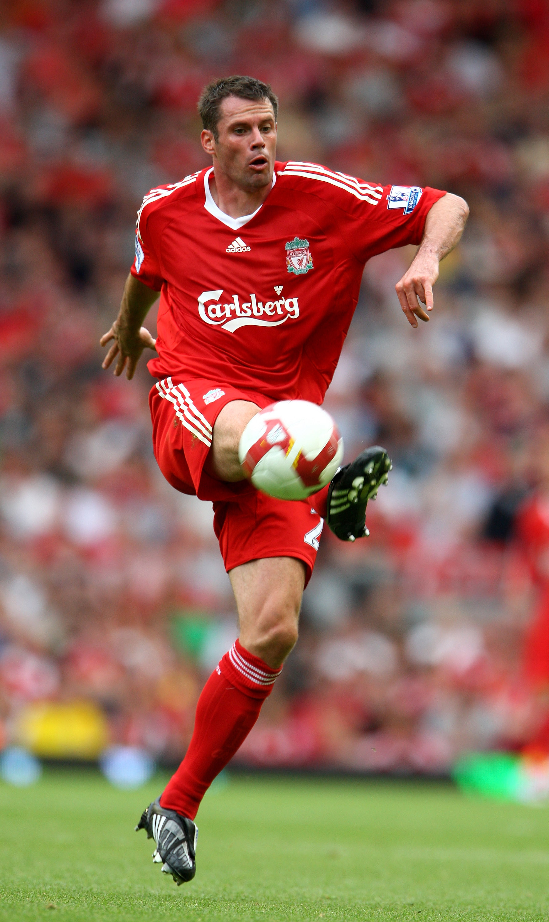 LIVERPOOL, UNITED KINGDOM - AUGUST 23:  Jamie Carragher of Liverpool during the Barclays Premier League match between Liverpool and Middlesbrough at Anfield on August 23, 2008 in Liverpool, England  (Photo by Phil Cole/Getty Images)