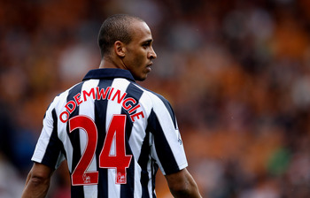 WOLVERHAMPTON, ENGLAND - MAY 08:  Peter Odemwingie of WBA during the Barclays Premier League match between Wolverhampton Wanderers and West Bromwich Albion at Molineux on May 8, 2011 in Wolverhampton, England.  (Photo by Scott Heavey/Getty Images)