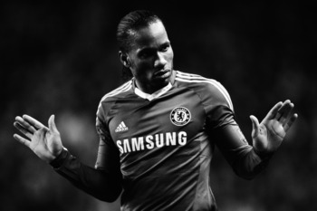 WOLVERHAMPTON, UNITED KINGDOM - JANUARY 05:  (EDITORS NOTE: THIS BLACK AND WHITE IMAGE WAS CREATED FROM ORIGINAL COLOUR FILE)  Didier Drogba of Chelsea reacts during the Barclays Premier League match between Wolverhampton Wanderers and Chelsea at Molineux