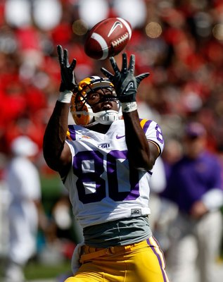 ATHENS, GA - OCTOBER 03:  Terrance Toliver #80 of the Louisiana State University Tigers against the Georgia Bulldogs at Sanford Stadium on October 3, 2009 in Athens, Georgia.  (Photo by Kevin C. Cox/Getty Images)