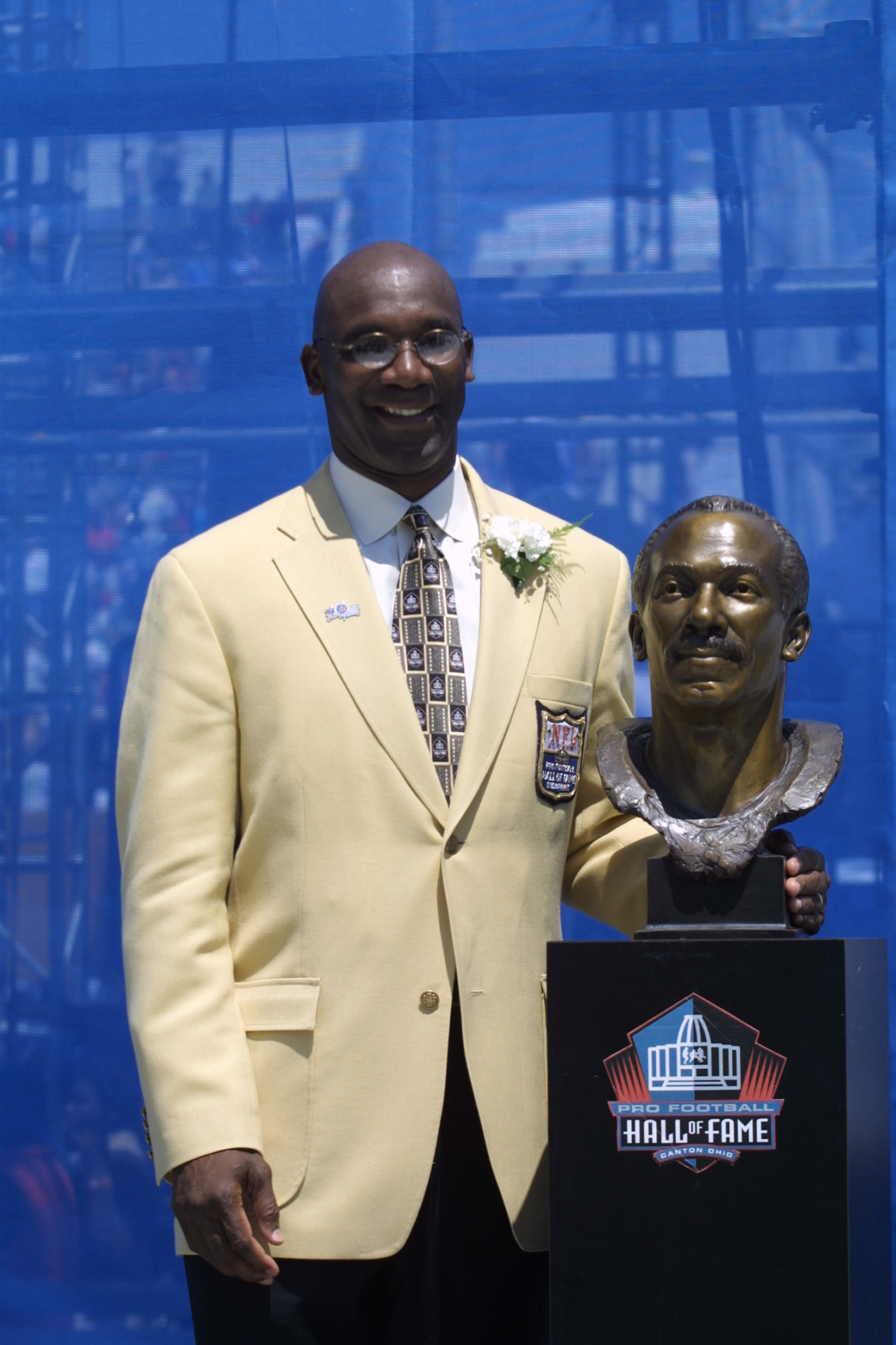 CANTON, OHIO - AUGUST 3:  John Stallworth John Stallworth stands next to his bust after his induction into the National Football League Hall of Fame on August 3, 2002 at Fawcett Stadium in Canton, Ohio.  Stallworth played wide receiver for the Pittsburgh