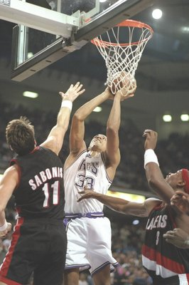 9 Nov 1996:  Forward Brian Grant of the Sacramento Kings and center Arvydas Sabonis of the Portland Trailblazers jump for the ball during a game at the Arco Arena in Sacramento, California.  The Kings won the game 103-102. Mandatory Credit: Otto Greule  /