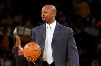 LOS ANGELES, CA - MAY 29:  Los Angeles Lakers legend Brian Shaw brings out the game ball before Game Five of the Western Conference Finals between the Los Angeles Lakers and the San Antonio Spurs during the 2008 NBA Playoffs on May 29, 2008 at Staples Cen