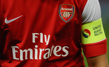 LONDON, ENGLAND - OCTOBER 19:  Captain Cesc Fabregas of Arsenal looks on prior to the UEFA Champions League Group H match between Arsenal and FC Shakhtar Donetsk at the Emirates Stadium on October 19, 2010 in London, England.  (Photo by Laurence Griffiths